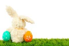 Зайчик пасхи и граница яичек Стоковое Изображение