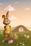 Зайчик пасхи с корзиной и пасхальными яйцами Стоковое Изображение