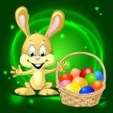 Зайчик пасхи с корзиной полной красочных яичек иллюстрация штока