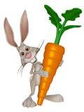 Зайчик пасхи шаржа с большой морковью Стоковое фото RF