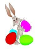 Зайчик пасхи шаржа с пасхальными яйцами Стоковое Фото