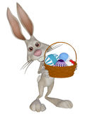 Зайчик пасхи шаржа с пасхальными яйцами Стоковое Изображение