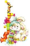 Зайчик Санты Нового Года поздравления предпосылки иллюстрация штока