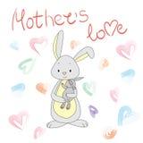 Зайчик с маленьким кроликом в ее оружиях мать s влюбленности Стоковое Изображение RF