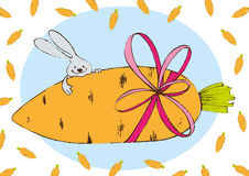 Зайчик с морковью стоковая фотография