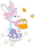 Зайчик с тортом пасхи бесплатная иллюстрация