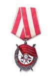 Заказ Красного знамени изолировано Стоковое Фото