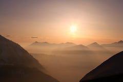 Закат в Альпах Стоковое Изображение RF