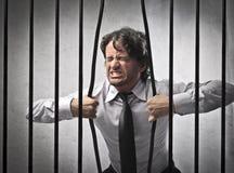 Заключенное в тюрьму дело стоковое фото rf