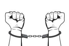 Заковыванные руки в наручниках Человек в пленнике тюрьмы иллюстрация вектора