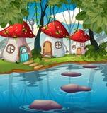 Заколдованный дом гриба в природе иллюстрация вектора