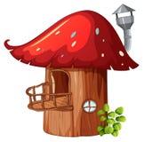 Заколдованный дом гриба деревянный иллюстрация вектора