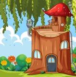 Заколдованный дом ствола дерева иллюстрация штока