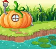 Заколдованный дом тыквы в природе иллюстрация штока