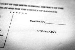 Законная жалоба закона судебных документов судоговорений стоковое фото rf
