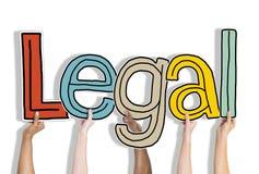 Законное позволенное законное одобряет правовые руки вверх держит концепцию стоковое фото rf