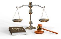 Законные атрибуты: gavel, маштаб и книга закона Стоковые Изображения