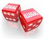 Законн-Против-Противозаконн-Крен-Кость-Взяти-Шанс-Закон-Проб-правосудие иллюстрация вектора