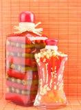 законсервированное стекло jars овощи стоковое фото rf
