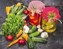 Законсервированные и свежие овощи Стоковые Изображения