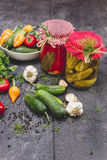 Законсервированные и свежие овощи Стоковые Изображения RF