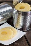 Законсервированный ананас на древесине Стоковая Фотография RF