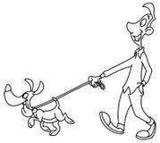 Законспектированная собака человека идя Стоковые Изображения RF