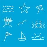 Законспектированные значки лета Стоковое Изображение RF