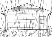 Законспектированный гараж с дождем и Spouts бесплатная иллюстрация