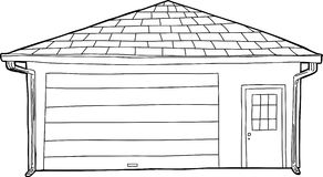Законспектированный одиночный гараж с дверью иллюстрация вектора