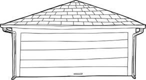 Законспектированный одиночный гараж иллюстрация штока
