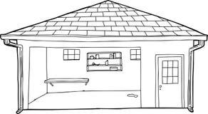 Законспектированный пустой гараж с входом иллюстрация вектора