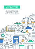 Закон и правосудие - выровняйте шаблон A4 плаката брошюры дизайна иллюстрация штока