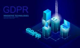 Закон GDPR защиты данных уединения Европейский союз экрана безопасности конфиденциальной информации данных регулированный Правый  иллюстрация вектора