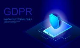 Закон GDPR защиты данных уединения Европейский союз экрана безопасности конфиденциальной информации данных регулированный Правый  иллюстрация штока