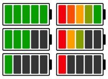 Закодированный цветом индикатор батареи ровный Батарея бежать низко/recha иллюстрация штока