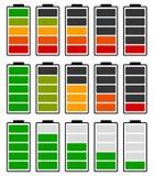 Закодированный цветом индикатор батареи ровный Батарея бежать низко/recha бесплатная иллюстрация