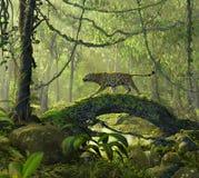 Заколдованный лес джунглей с котом пантеры иллюстрация вектора