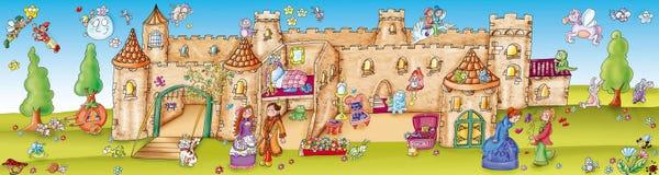 Заколдованный замок в древесинах с эльфами бесплатная иллюстрация