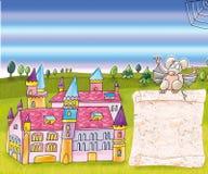 Заколдованный замок с мышью и переченем иллюстрация вектора