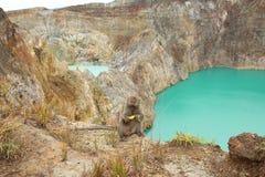 Заколдовыванное или заколдованное озеро, озера кратер Kelimutu Стоковая Фотография RF