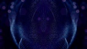 Закрепленный петлей состав 3d сверкная частиц на темно-синей предпосылке с влияниями глубины поля и bokeh освещение акции видеоматериалы