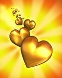 закрепляя золотистый путь сердец Стоковая Фотография