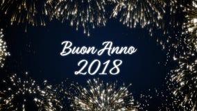 Закрепляя петлей счастливая открытка social Нового Года 2018 с золотом одушевила фейерверки на элегантной черной и голубой предпо видеоматериал
