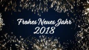 Закрепляя петлей счастливая открытка social Нового Года 2018 с золотом одушевила фейерверки на элегантной черной и голубой предпо сток-видео