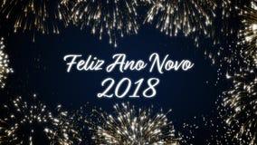 Закрепляя петлей счастливая открытка social Нового Года 2018 с золотом одушевила фейерверки на элегантной черной и голубой предпо акции видеоматериалы