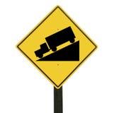 закрепляя покатый изолированный желтый цвет знака путя Стоковые Изображения RF
