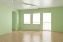 закрепляя пустые включенные окна комнаты путя Стоковое Фото