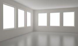 закрепляя пустые включенные окна комнаты путя Стоковое Изображение