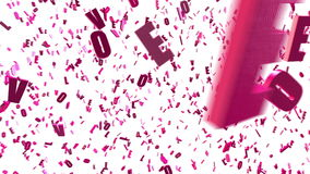 Закрепленная петлей оживленная предпосылка с хаотическим закручивая розовым 3d помечает буквами ВЛЮБЛЕННОСТЬ, латинский алфавит Б иллюстрация штока